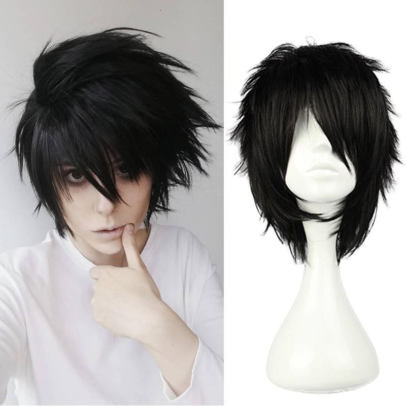 Animado Death Note L Lechuga romana para hombre L.Lawliet corto Bla resistente al calor Pelucas del pelo de Cosplay de las pelucas + Cap peluca