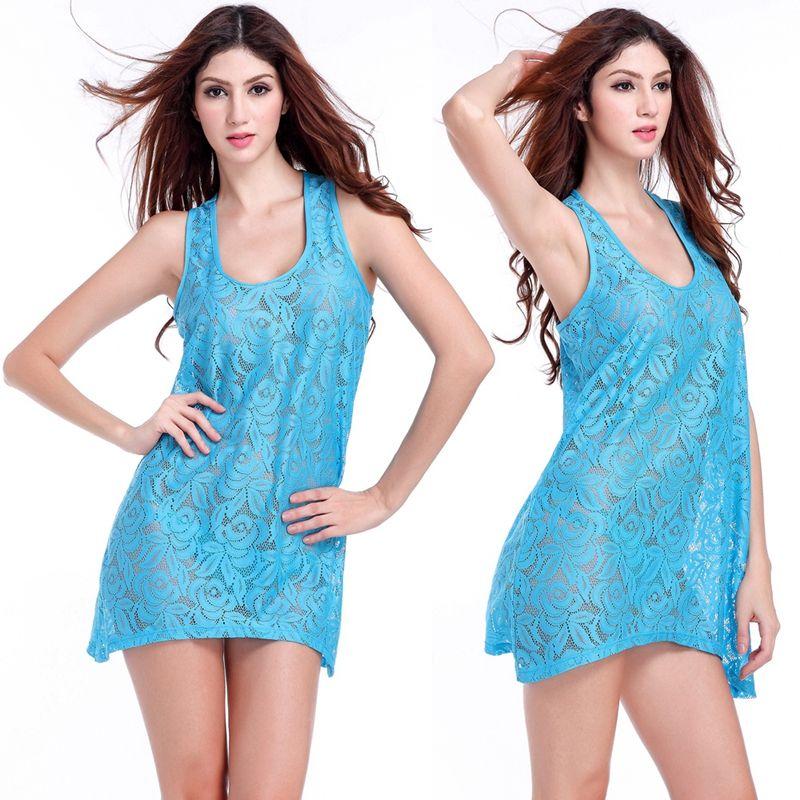 Popular Tank Cover Ups 2020 Leisure O Neck Beachwear Lace Tunic Female Plus Size Women Sexy Blue Lace Beach Dress Drop Shipping