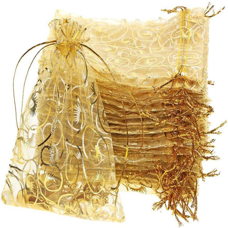 100pcs misturar cores 9x12cm cílios Jóias Organza DRAWSTRING embalagem Pouch favor do casamento Gift Bags