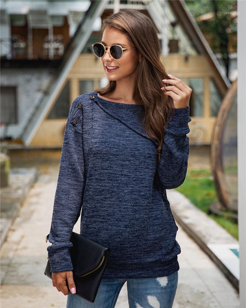 Цвет Сыпучей одежда пуловер женского Casual Crew Neck свитер вязаный с кнопкой Женской свитер моды Soild