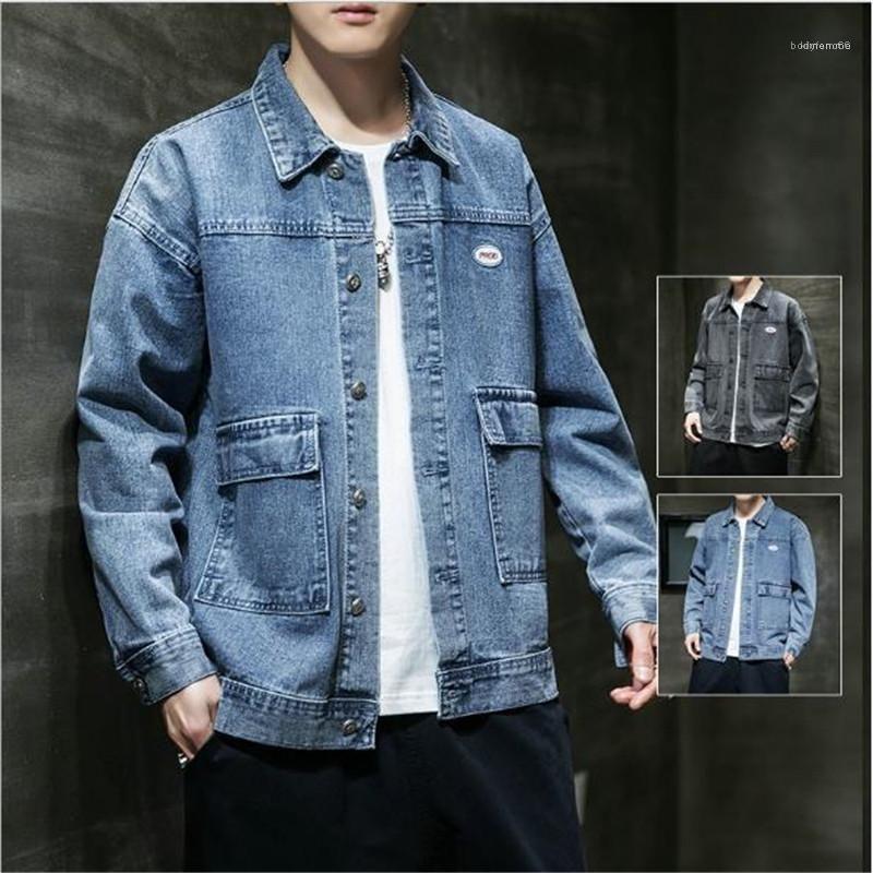 Yaka Yaka Uzun Kollu Erkek ceketler Paket Denim Erkek ceketler Artı boyutu Designer ile Katı Renk