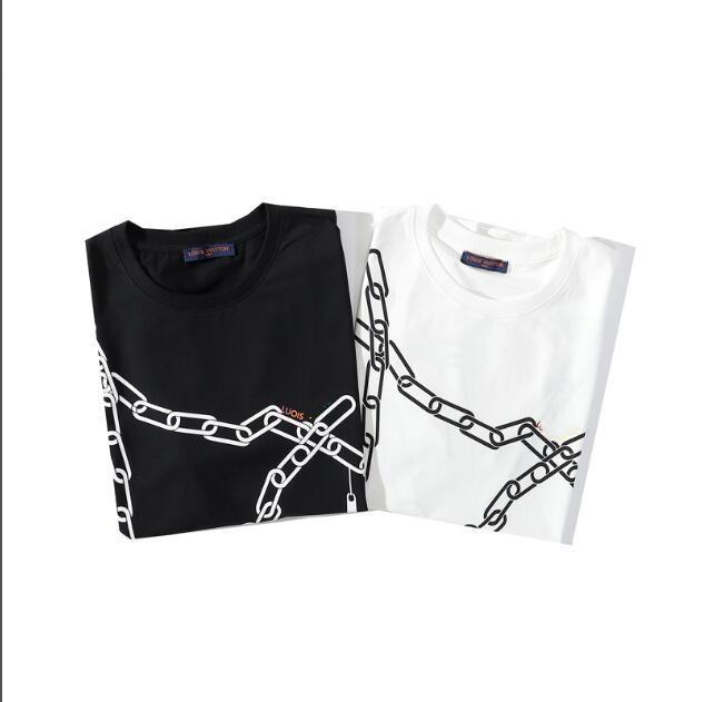 Neue Männer und koreanische Version loser abstrakte Kette freies Verschiffen der Frauen Kurzarm-T-Shirt Jacke Jacke Druck