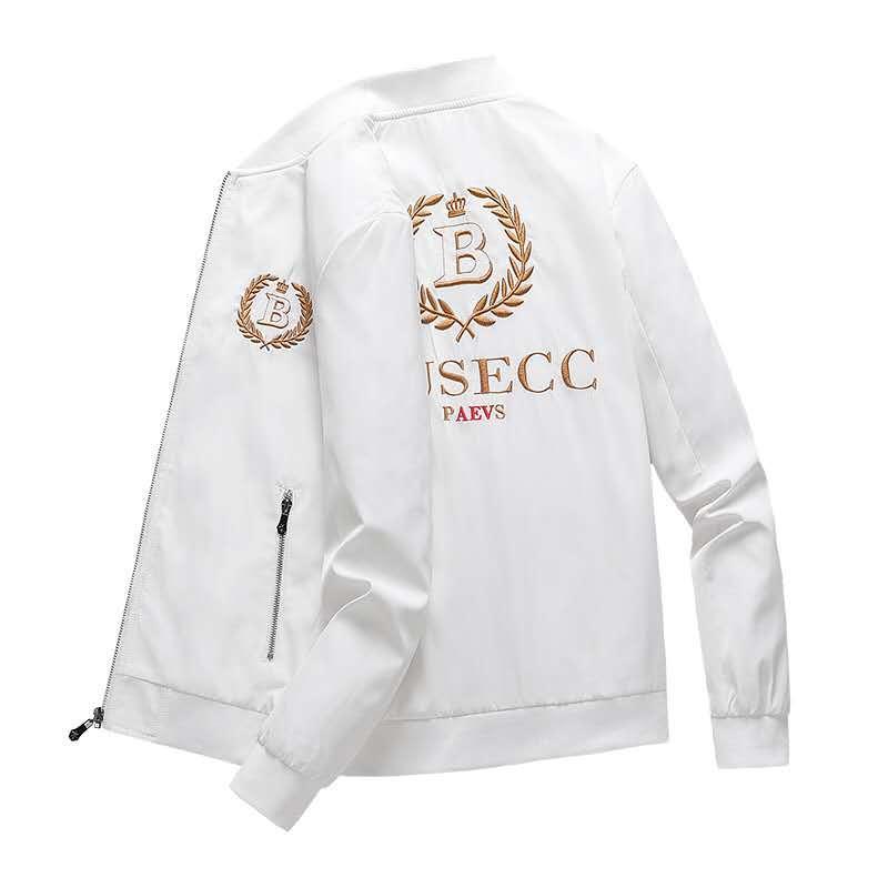 Весна и осень Мужской моды Дизайнеры молния от кармана на молнии белого пиджака молодёжные стенда воротник случайного мужских вышитых пальто