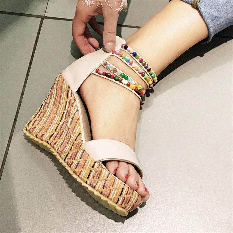Womens Wohnungen öffnen Zehe-Keil-Zipper starke untere Schuhe Bequeme römische Sandalen Bohemia Zapatos De Mujer Verano pHW1 #