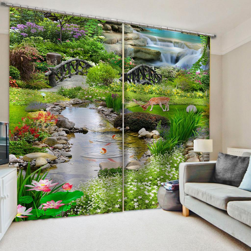 Yatak odası Salon Büro Otel için özel perdeler yeşil karaciğer perdeleri Pencere Karartma Lüks 3D Perdeler seti