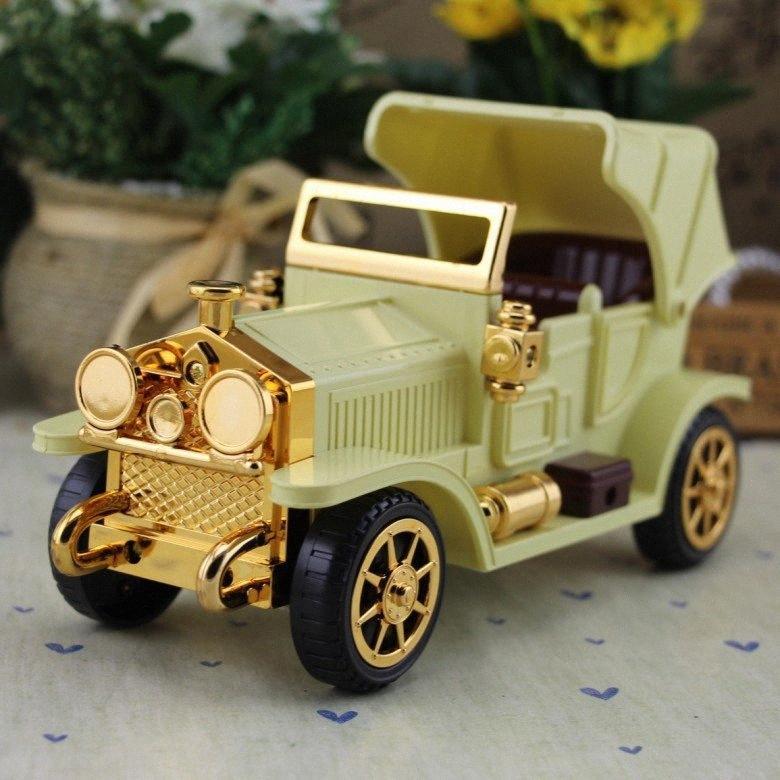 Çocuklar Craft Masası Süsleme Vintage Müzik Kutusu Kid Oyuncak MUUi için # Eski Araba Müzik Kutusu Oyuncu Araç Klasik Doğum Hediye