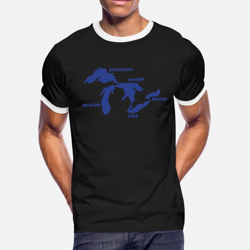 Grandes Lagos hombres de la camiseta del diseño del 100% de algodón más el tamaño 3XL camisa del estilo del verano de la novedad informal Familia divertido regalo