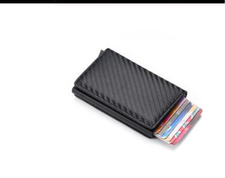 حامل البطاقة من ألياف الكربون محافظ رجال العلامة التجارية تتفاعل السحر الاسود Trifold جلد سليم البسيطة المحفظة الصغيرة حقيبة المال ذكر المحافظ