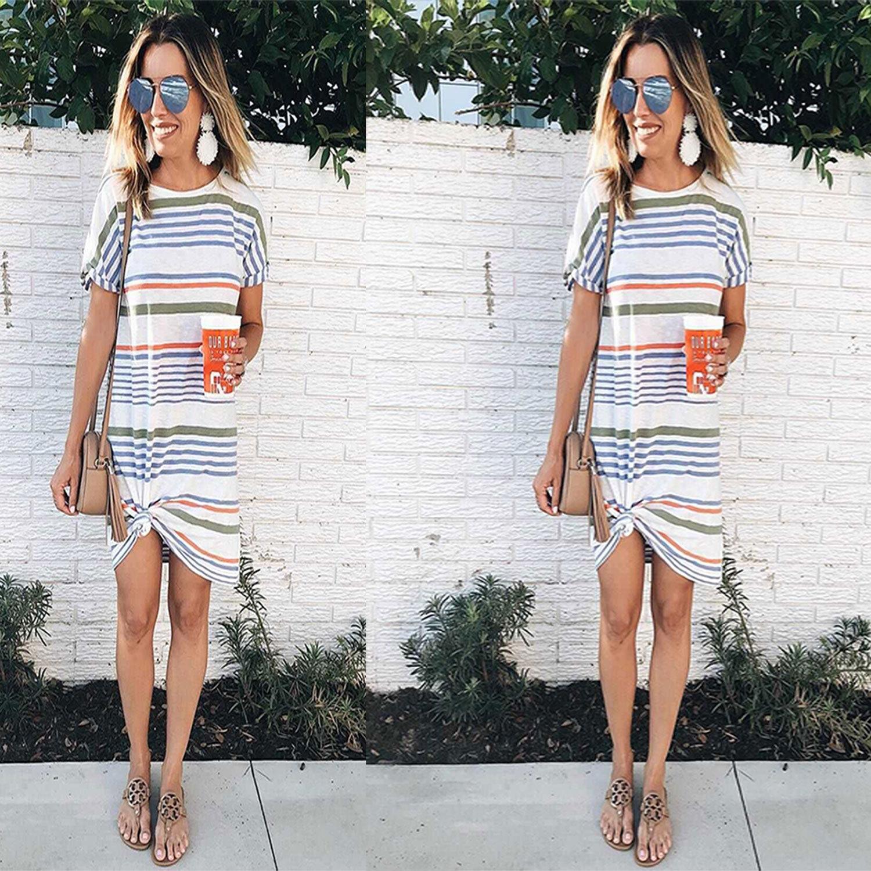 t1hUh 2019 yaz moda yuvarlak boyun baskı kısa kollu kadın 2019 yaz elbise moda yuvarlak boyun baskı çizgili kısa kollu kadı çizgili
