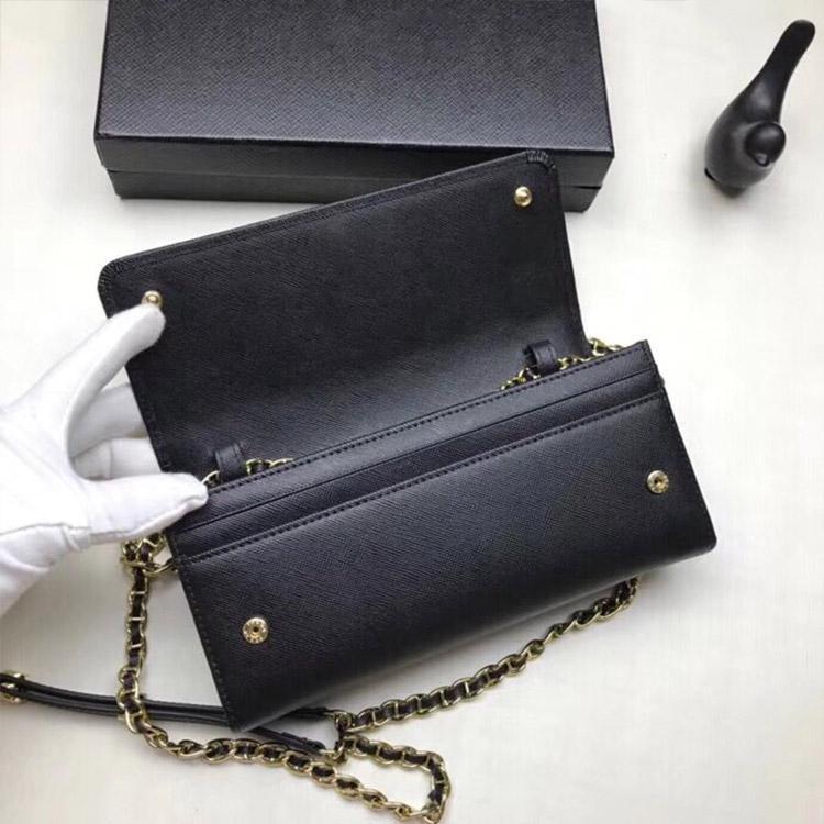 las mujeres diseñador de lujo de la carpeta de los bolsos bolsos de cuero real de largo PORTEFEUILLE bolso de la manija de la cadena de alta calidad de estilo clásico bolso de la señora Crossbody