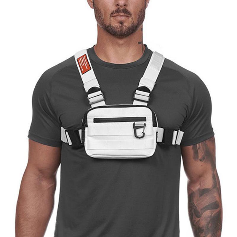مصغرة الصدر حقائب الرجال الصدرية التكتيكية عاكس السلامة للدراجات المشي لمسافات طويلة حقيبة الظهر متعدد الوظائف السفر جيب الهاتف الخصر حزمة