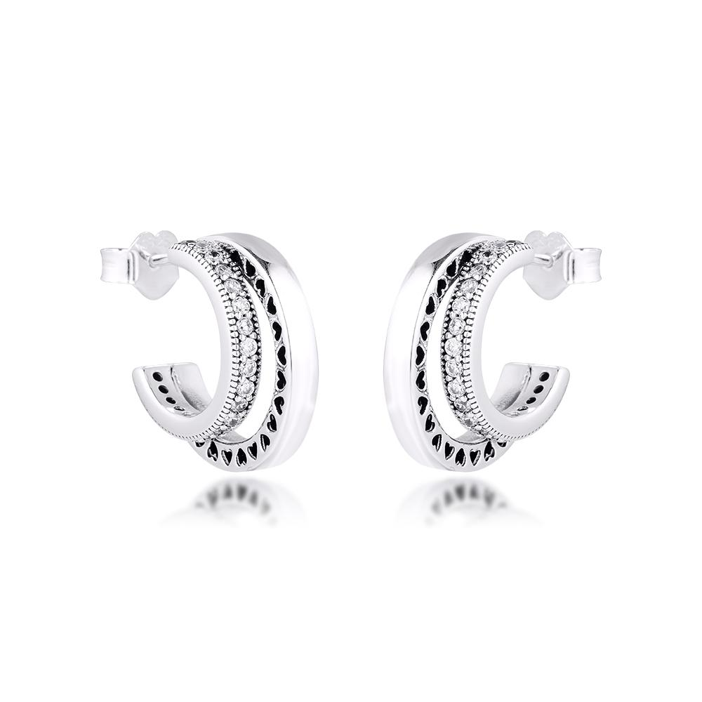 Pendientes Pendientes dobles CKK Pave 925 CZ clara joyería de regalo de las mujeres 2020 otoño más reciente E189