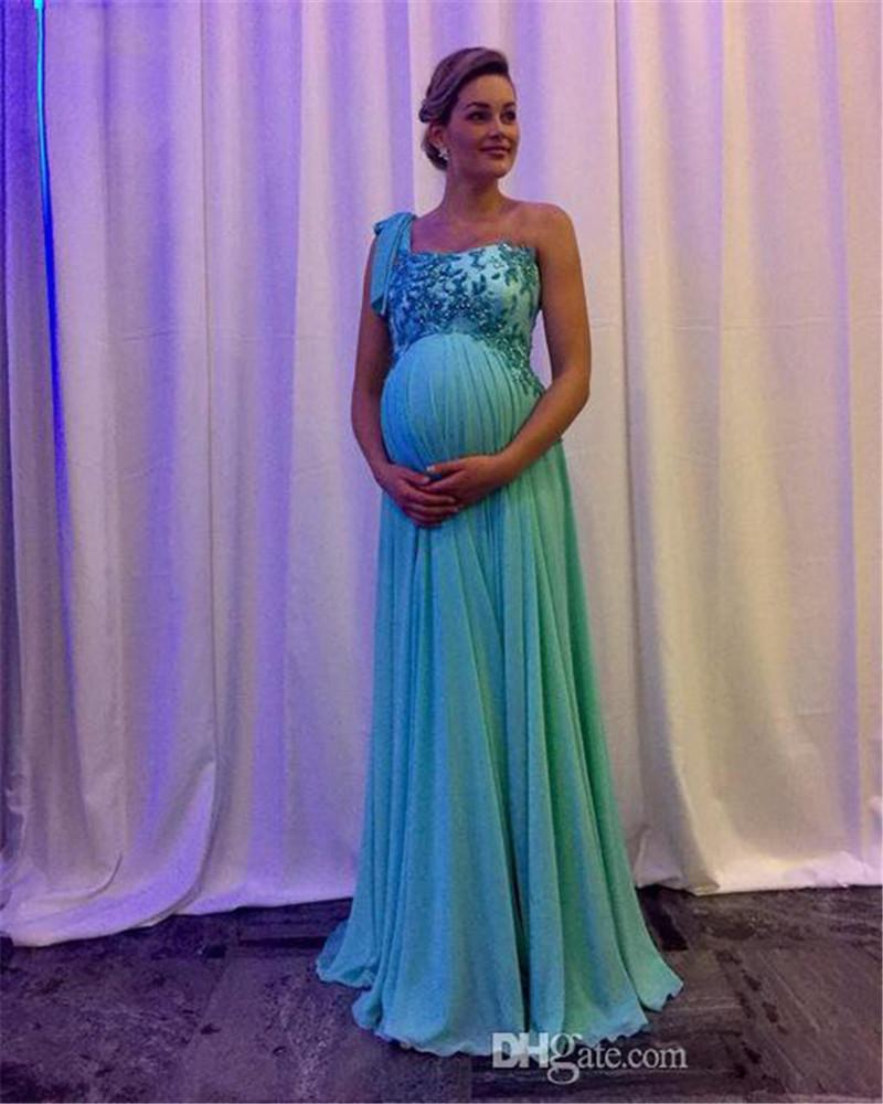 Maternity Evening Dresses One Shoulder Prom Dresses Applique Zipper Back Vestidos De Novia Long Sweep Chiffon Pregnant Prom Gowns