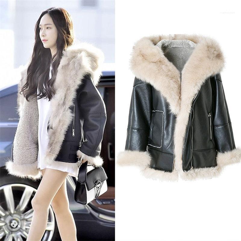 Una chaqueta femenino de la motocicleta delgada cálida lana abrigos de invierno de moda Streetwear mujeres cubren la chaqueta casual de piel