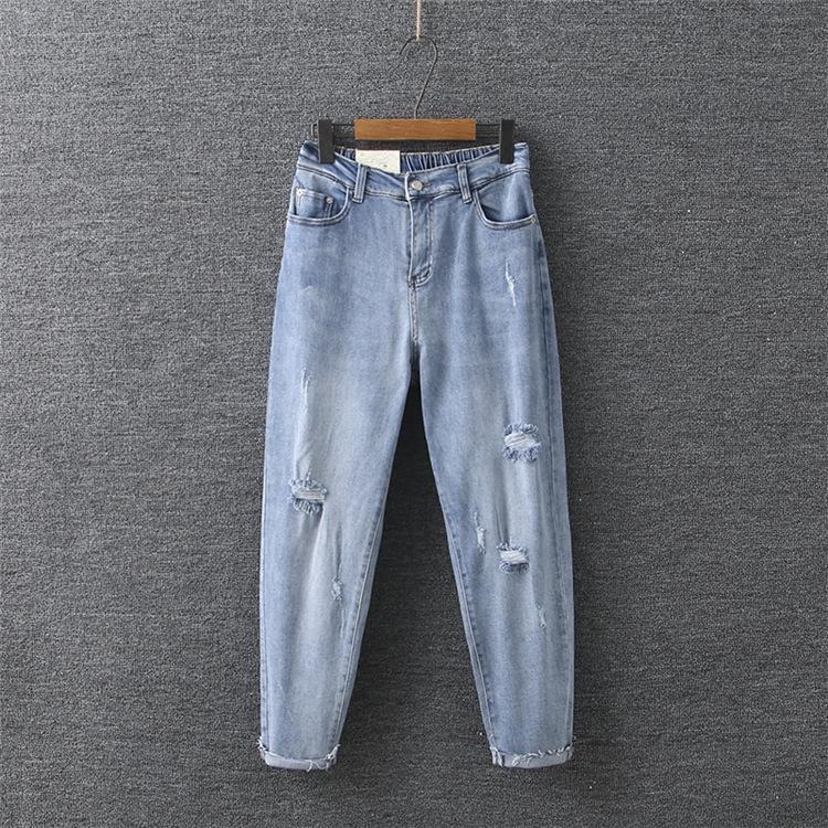 q915N Plus Plus 5541 nouveau printemps Taille coréenne moitié sarouel élastique trou de la taille de graisse et d'un jean de style MM jeans mince