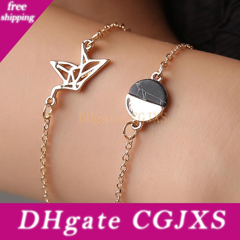 Hübscher Frieden Pigeon Armband 2pcs / Set Oval Riss Stein Roman Armband Set für Frauen Schmuck Persönlichkeit weiße wulstige Geometric Armbänder