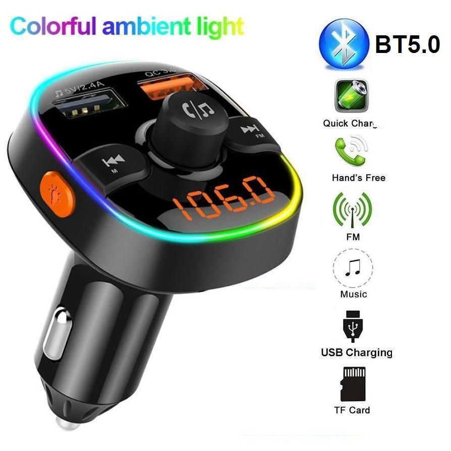 Wireless Bluetooth Car FM Transmitter Hand free Mp3 Player Car Kit Support USB/TF Card And Fast Charger With Dual Usb Charge Port For Iphone