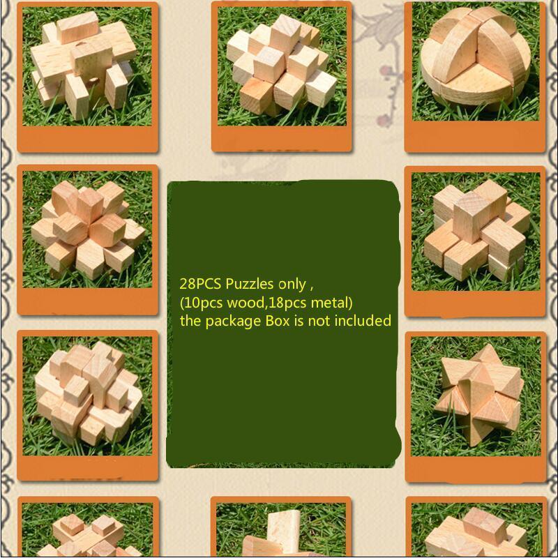 28pcs / LOT en bois Jouets en métal CD classique QI 3D Interlocking Burr casse Casse-tête Jeu Toy petite taille Y200414