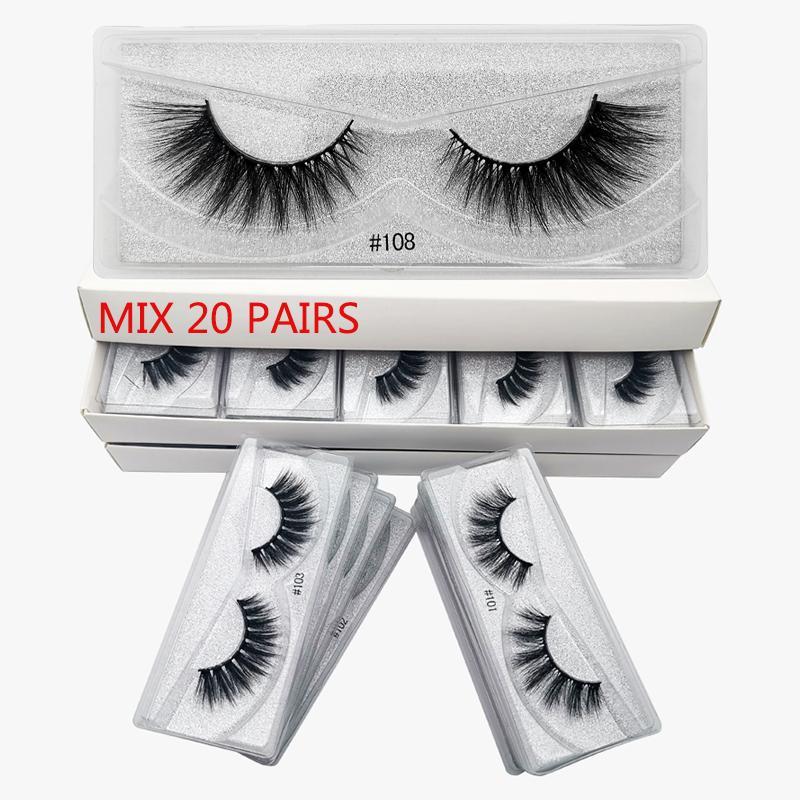 Venta al por mayor Pestañas 20/30/50/100 PCS 3D Mink Theses Pestañas de visón natural al por mayor Falso Maquillaje falsos pestañas falsas a granel