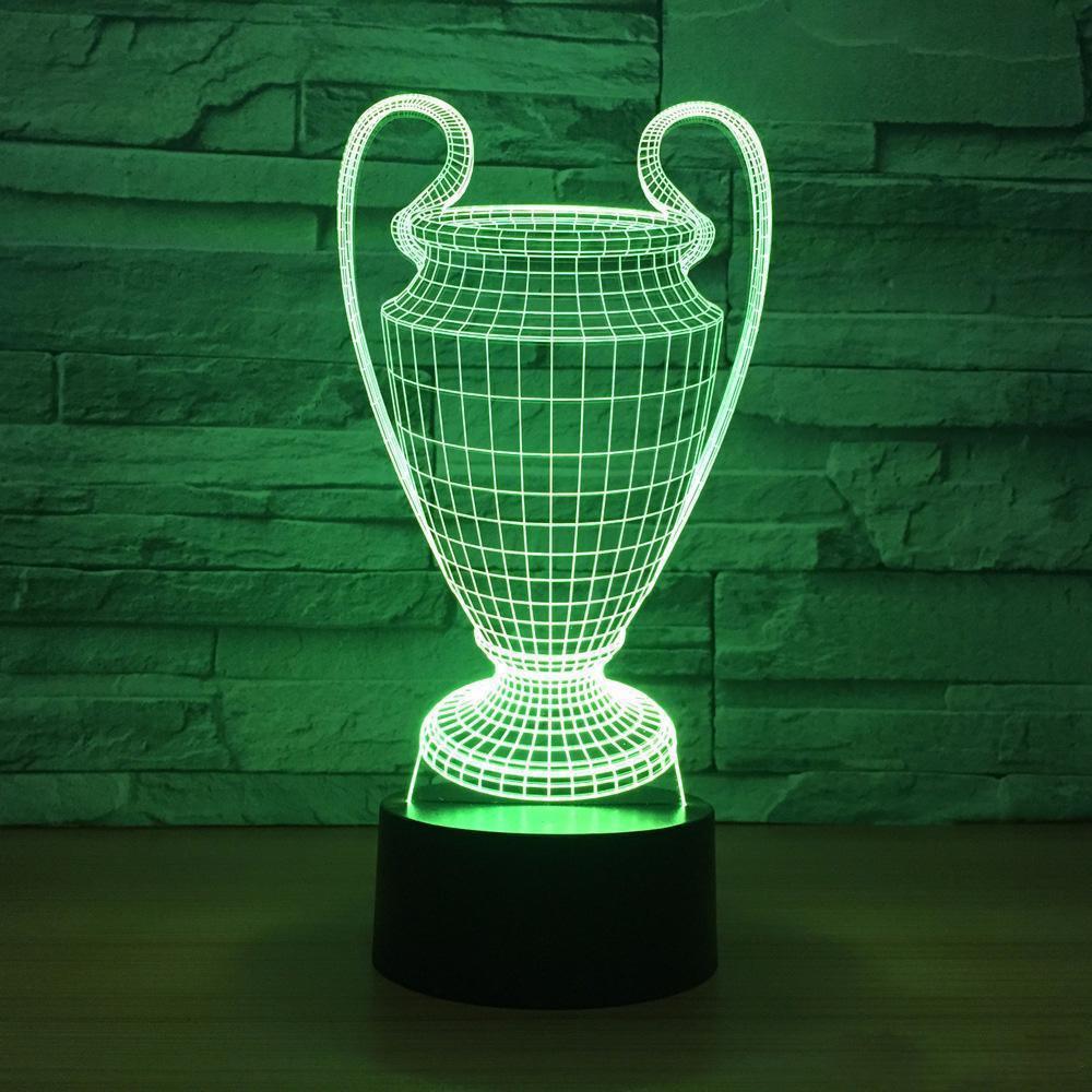 Fußball-Cup-Trophäe Lampe 7 Farben, die 3D-LED-Nachtlicht Touch-USB-Baby-Schlafzimmer Schlaf Luminaria Dropship