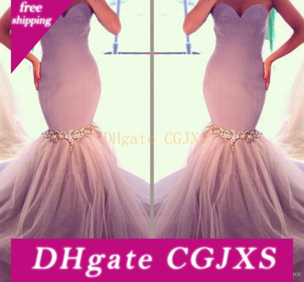Neueste Design Lila Lange Nixe-Abschlussball-Kleid-Schatz-Kleid für besondere Anlässe Abendgarderobe Günstige formale Partei-Kleider