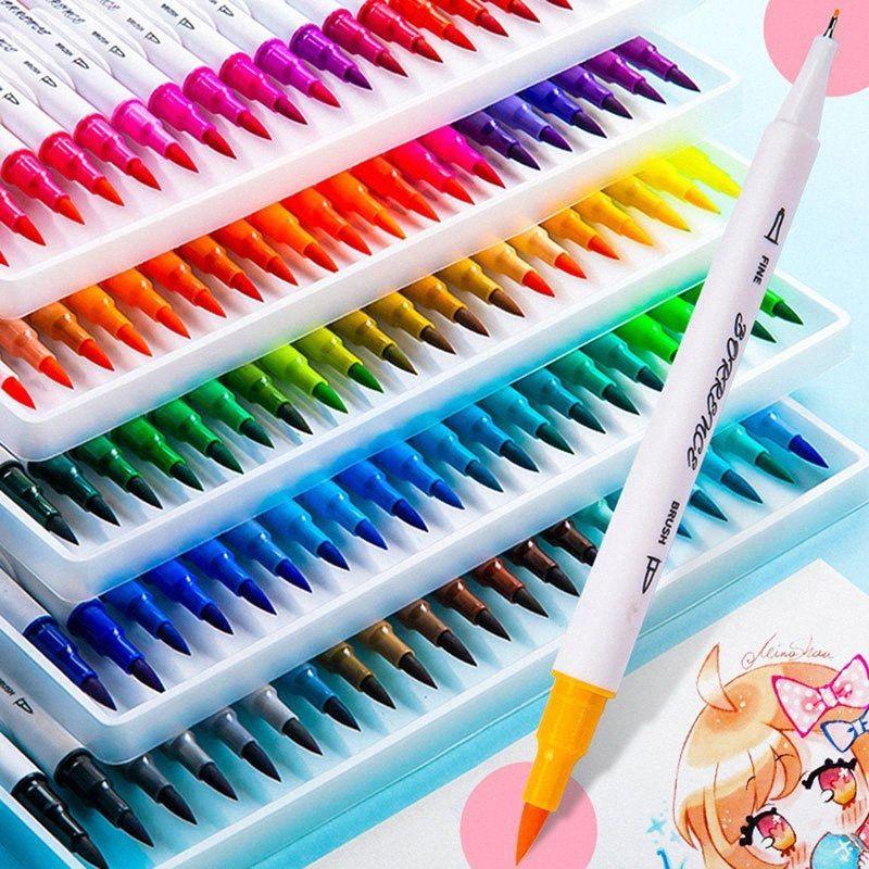 24/36/72/80/Double Head Watercolor Pen Set School Art Graffiti Special Hook Line Soft Head Needle Tube Marker Pen Good Gift For Kids C qdDg#