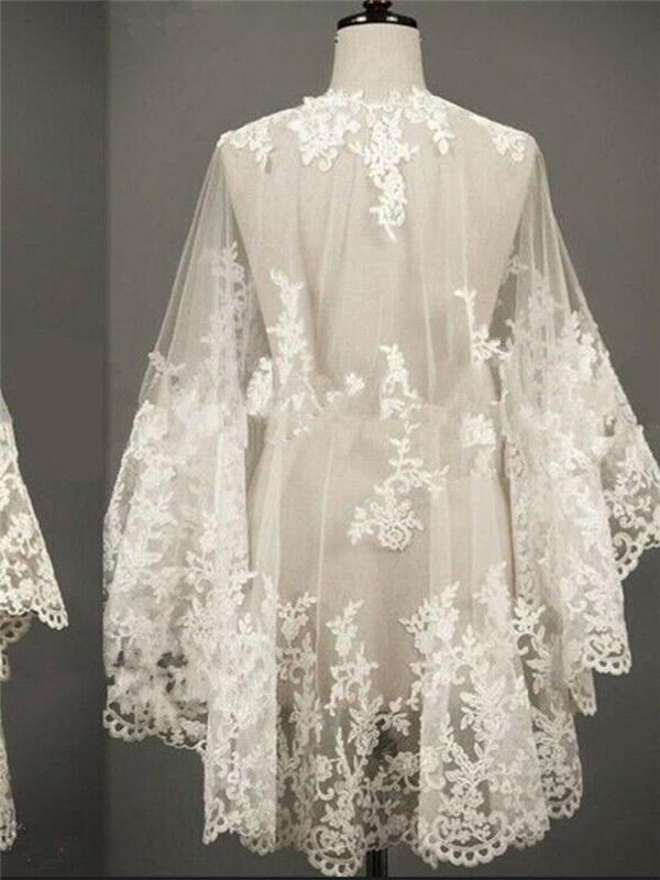 Embroidered white ivory lace bridal cloak front short Cloak embroidery embroidery back long mesh shawl embroidered decals