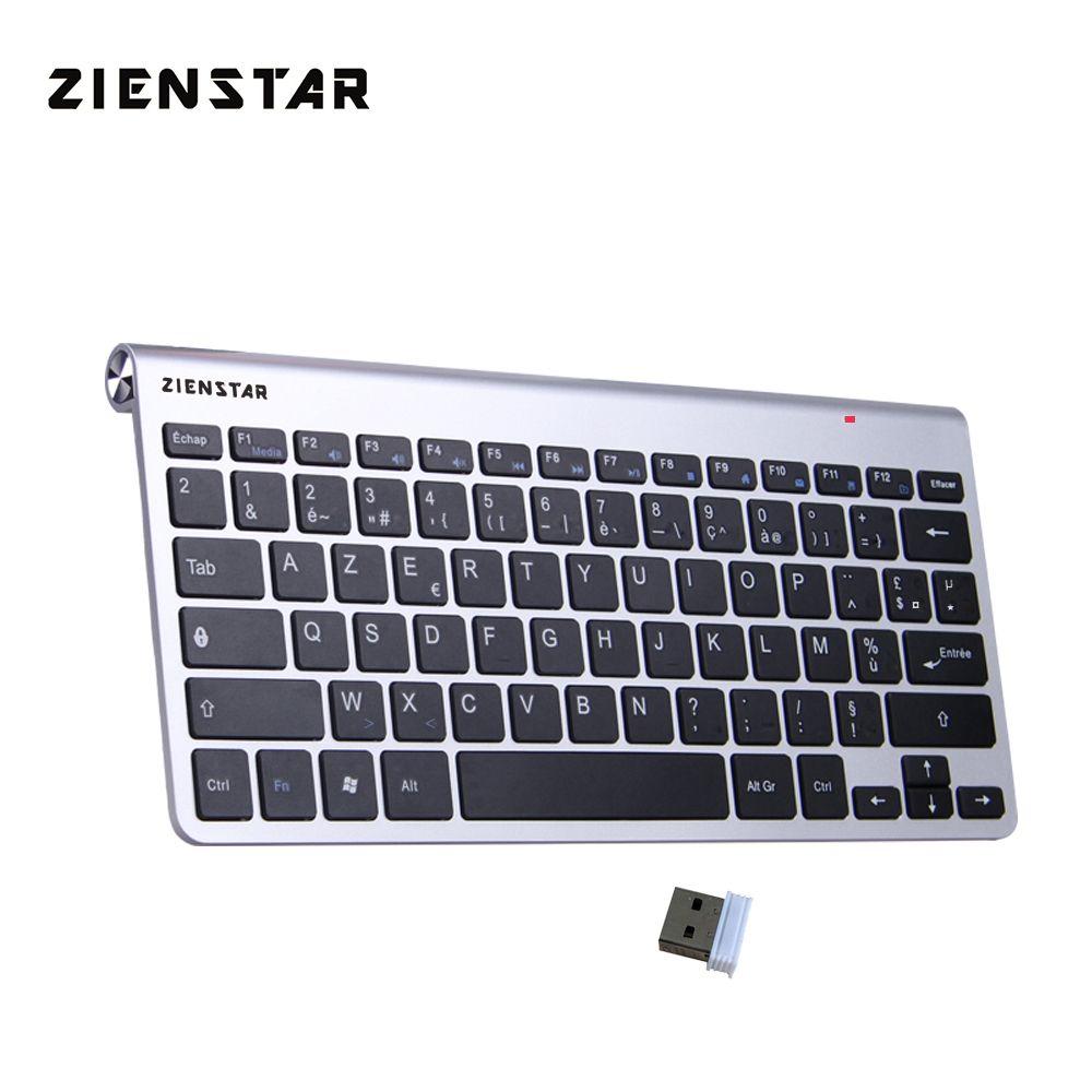 Zienstar AZERTY Francês Ultra idioma do teclado Magro 2. wireless para Macbook / PC Computer / Laptop / Smart TV com USB Receiver LJ200925