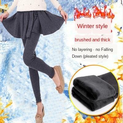 0aCCU autunno e inverno leggings di velluto autunno esterno ispessita falso in due pezzi a pieghe mutande leggings strass dimagrante gonna usura dell'anca