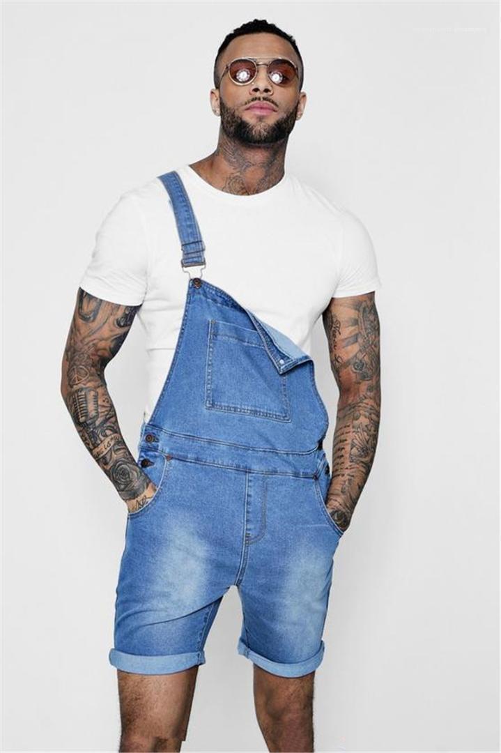 Estate singolo Sling moda Jean lavoro Pantaloni Maschio Patchwork bottoni designer di abbigliamento Skinny Mens brevi Jean Tuta