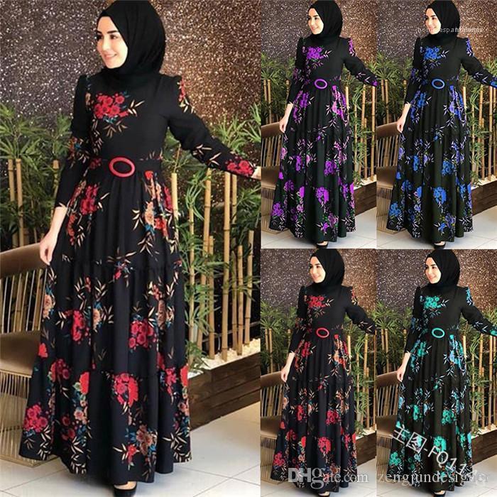 Uzun Kollu Maxi Stil Bayan Giyim Gündelik Giyim 5XL Arap Stil Bayan Sonbahar Tasarımcı Çiçek Baskı Elbise