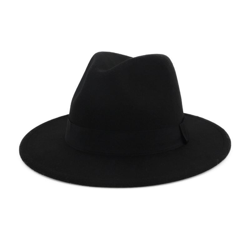 QIUBOSS Mens Women Black Red Patchwork Wool Felt Floppy Jazz Fedoras Hats with Ribbon band wide brim Panama trilby Formal hat Y200619