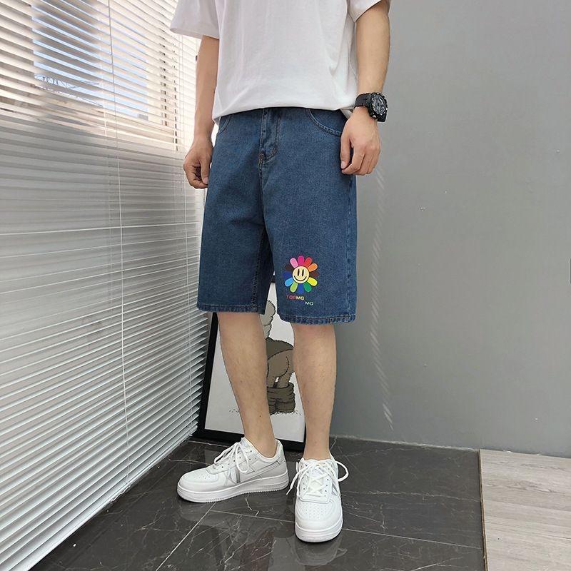2j2c7 playa 2020 pantalones de playa y pantalones cortos de mezclilla de los hombres de verano impresos nuevos cortos casuales estudiantes pantalones sueltos de los hombres de