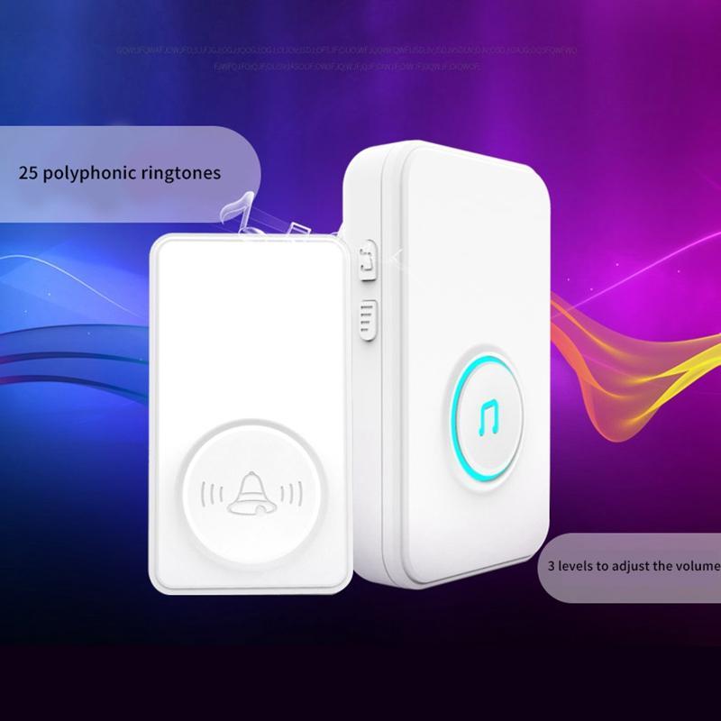 NEW-Autogerado campainha sem fio, Smart Home campainha, 433.92MHZ Frequency, Longa Distância Muro Caller (Plug UE)
