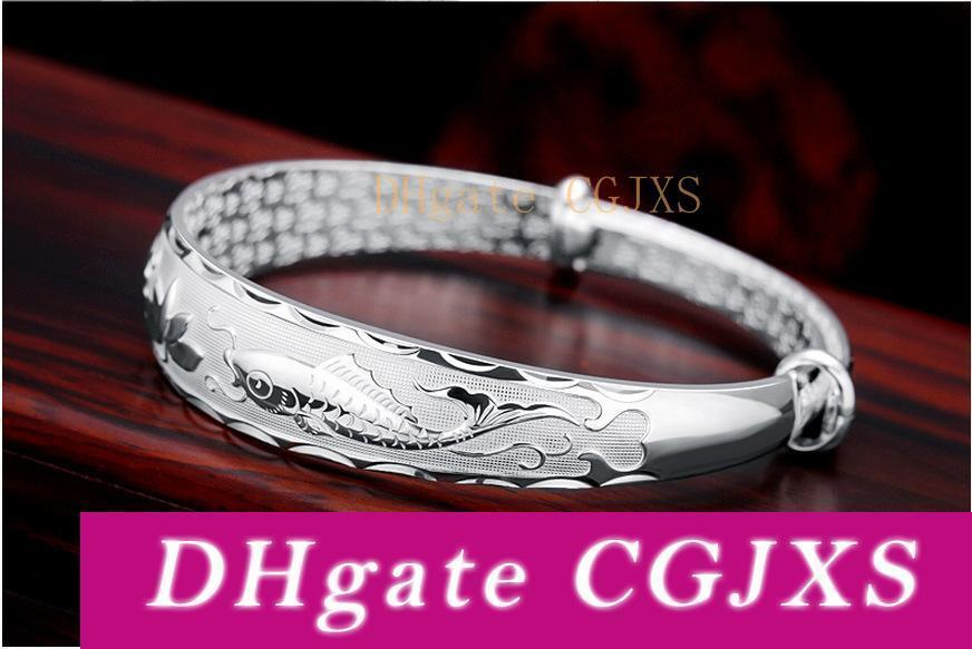999 Bracelet en argent sterling Bracelet Femme Bijoux en argent en gros Lotus Poissons Saint-Valentin étoiles avec l'argent pour envoyer sa petite amie
