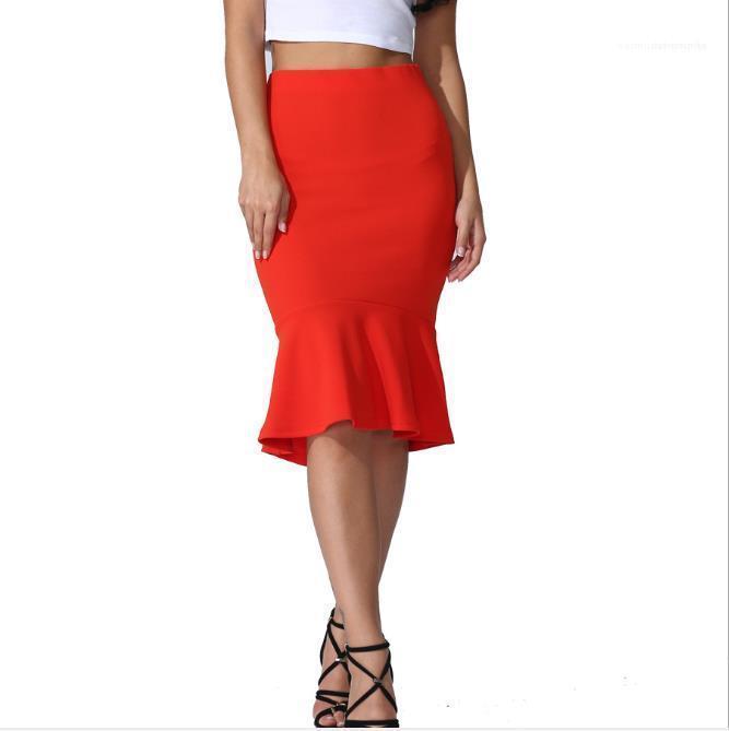 Gonna femmina sottile abbigliamento 2020 progettista delle donne casual Gonne estate di modo più il formato solido di colore Skinney