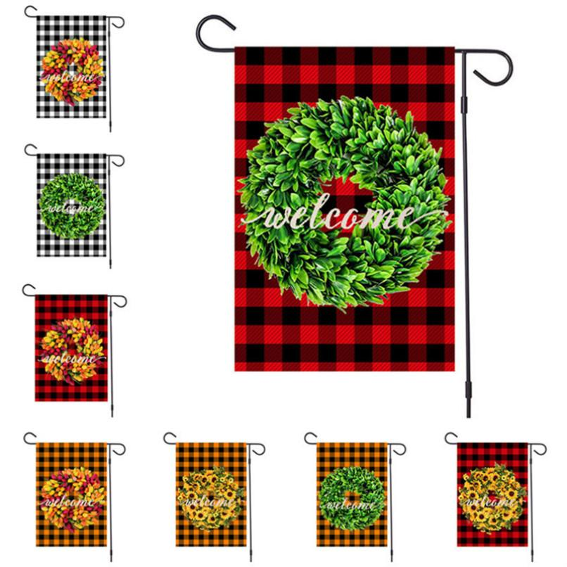 Newest Merry Christmas Linen Garden Flags Xmas Garland Plaid Designers Banners 47x32cm Hanging Banner Flags Party Outdoor Favor D92506