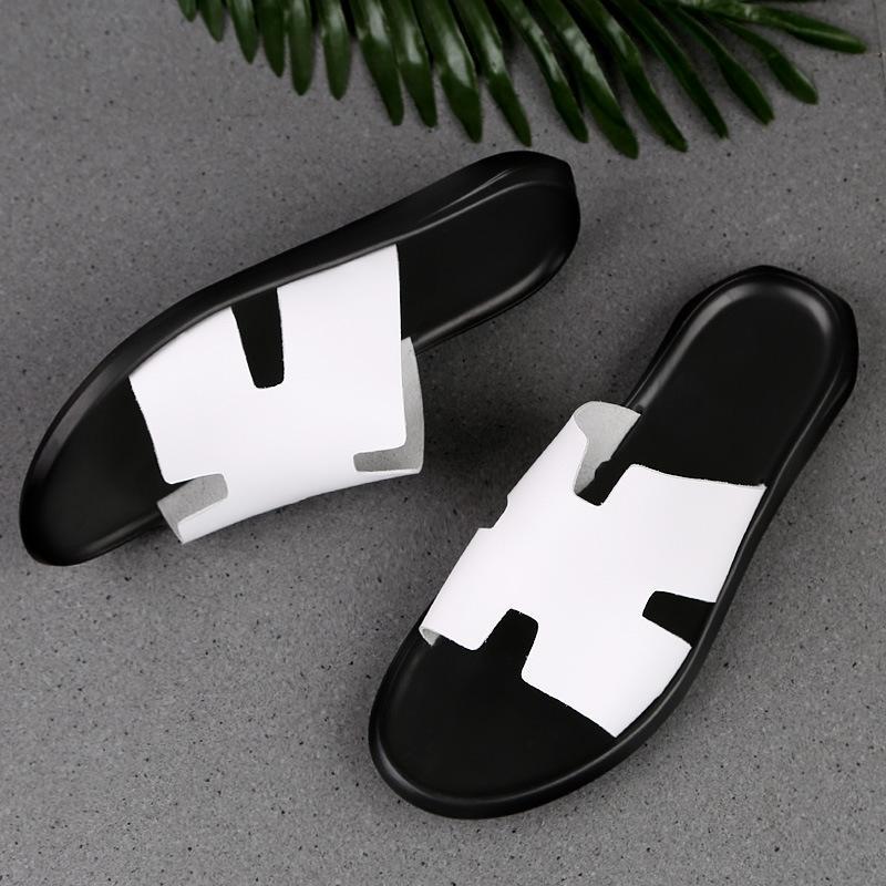Zapatos de verano de los nuevos hombres transpirable primeros pantalones apretados de los hombres de cuero de vaca y la capa de sandalias sandalias polainas 4NmW0