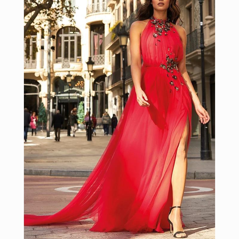Un desgaste del cuello Prom Party roja elegante formal del vestido de noche hermoso cabestro línea lateral de Split Vestidos de compromiso