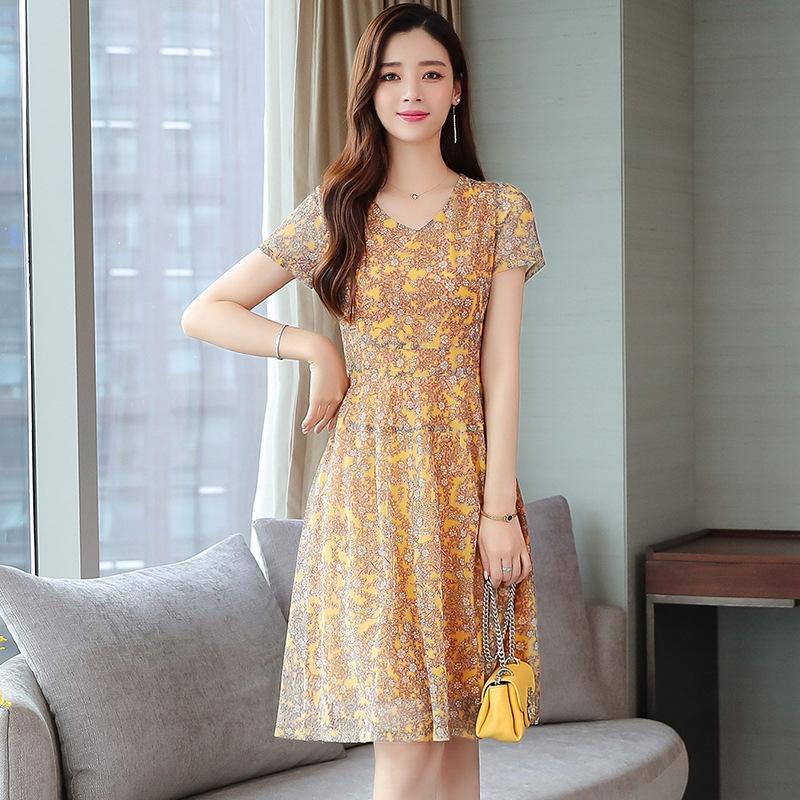 zdsPF 2020 d'été en mousseline de soie taille coupe florale nouvelle au début du printemps et l'été tempérament populaire mi-longs vêtements pour femmes automne robe robe sl