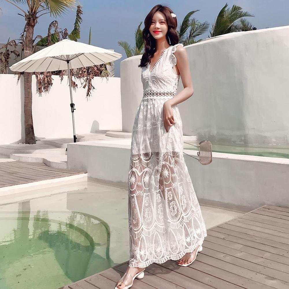 2WLjh 80Xxh Bali schlank Strand zurück Schönheit Spitze Thailand Urlaub am Meer schlank Strandkleid sexy rückenfreies Kleid
