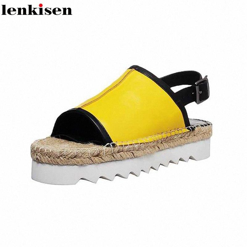 Lenkisen 2020 Sıcak Saling Batı Tarzı Yüksek Kalite Straw Peep Toe Karışık Renkli Kalın Alt Bilek sapanlar Güzellik Lady Sandalet L32 isCZ #
