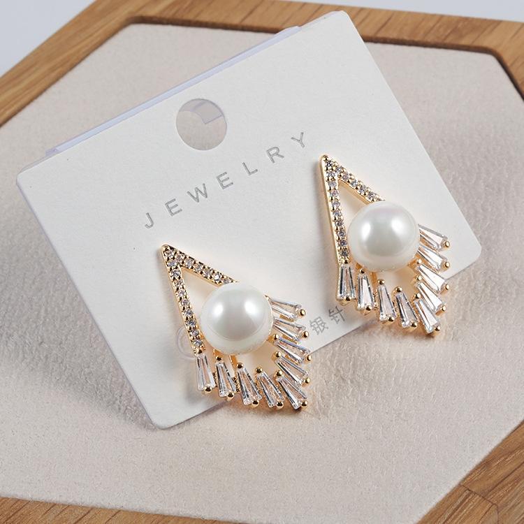 Nuevo estilo de Corea personalizada diamante perla diamante pendientes S925 aguja de plata pendientes de perlas de manera simple de las mujeres