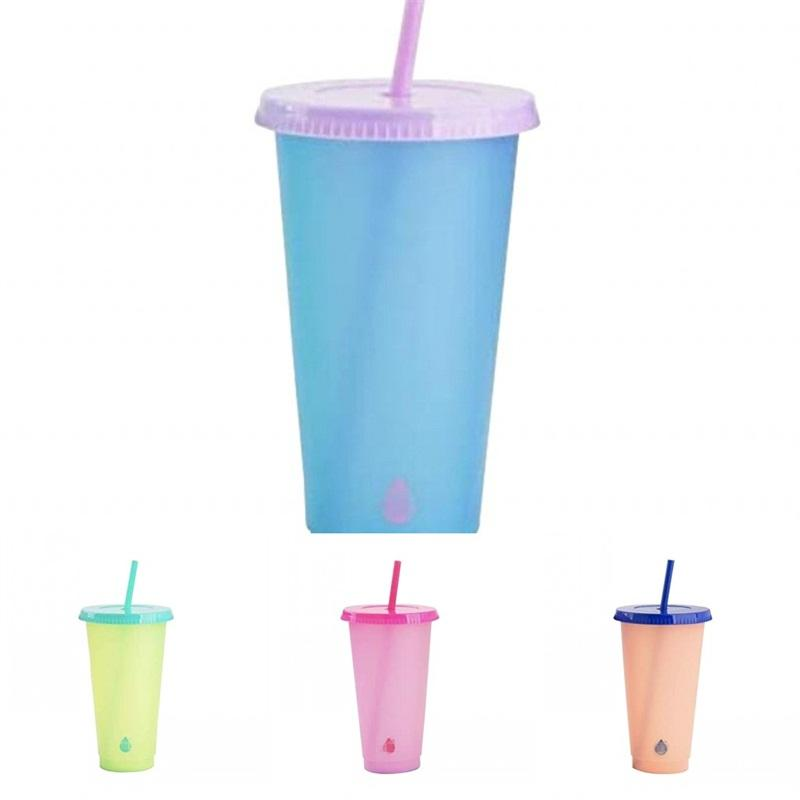 Color Changing Cups With Lid Pp Material Tumbler Temperature Sensing Fashion Coffee Mug Juice Straw Reusable Clear Plastic Exercise 5 5hb B2