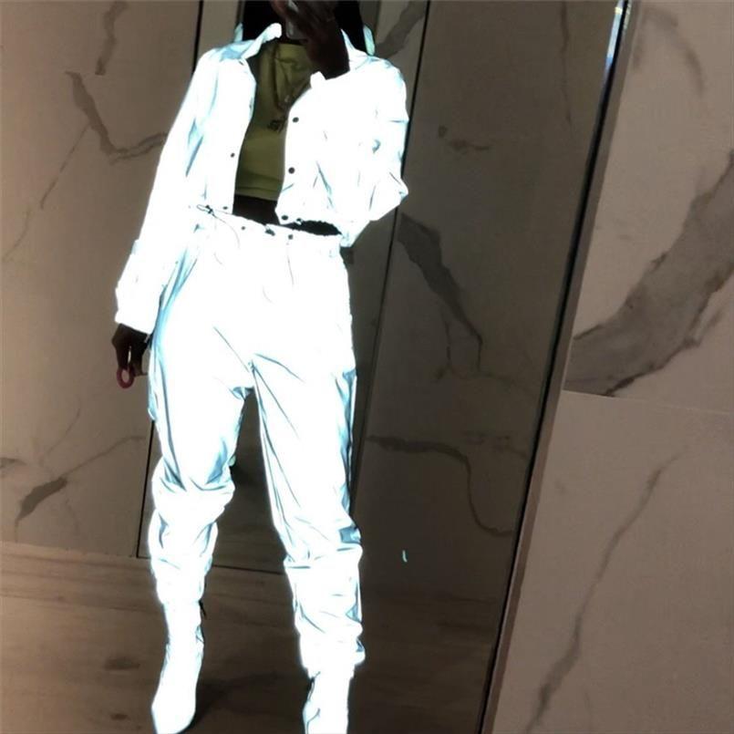 Hip Pop Street 2Pcs Frauen Mode Reflektierende Outfits Crop Tops Hosen Satz-Kleidung-Overall Playsuit 2 Arten Nachtclub Wear