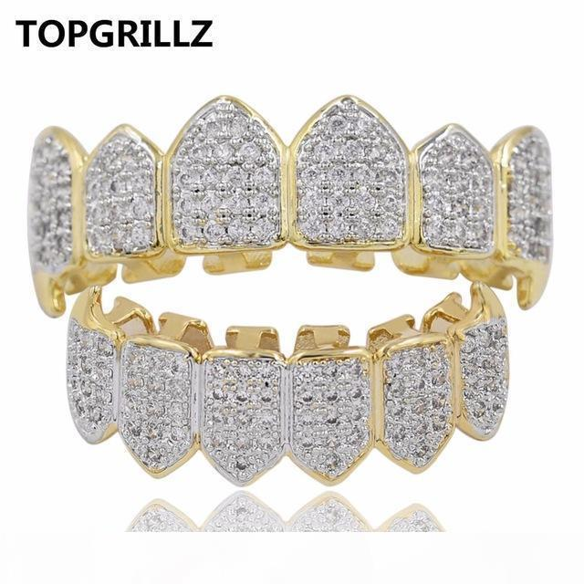 TOPGRILLZ Hip Hop GRILLZ heló hacia fuera circón colmillo Boca Dientes Grillz Caps Superior Inferior Grill Set Hombres Mujeres Vampiro Parrillas