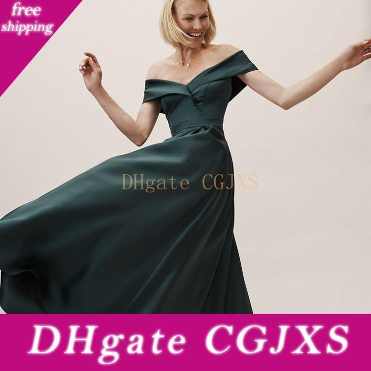 Madre spalla moda verde scuro Fuori della sposa veste raso dell'impero donne promenade Piano Lunghezza Slim Fit Madre S Dress
