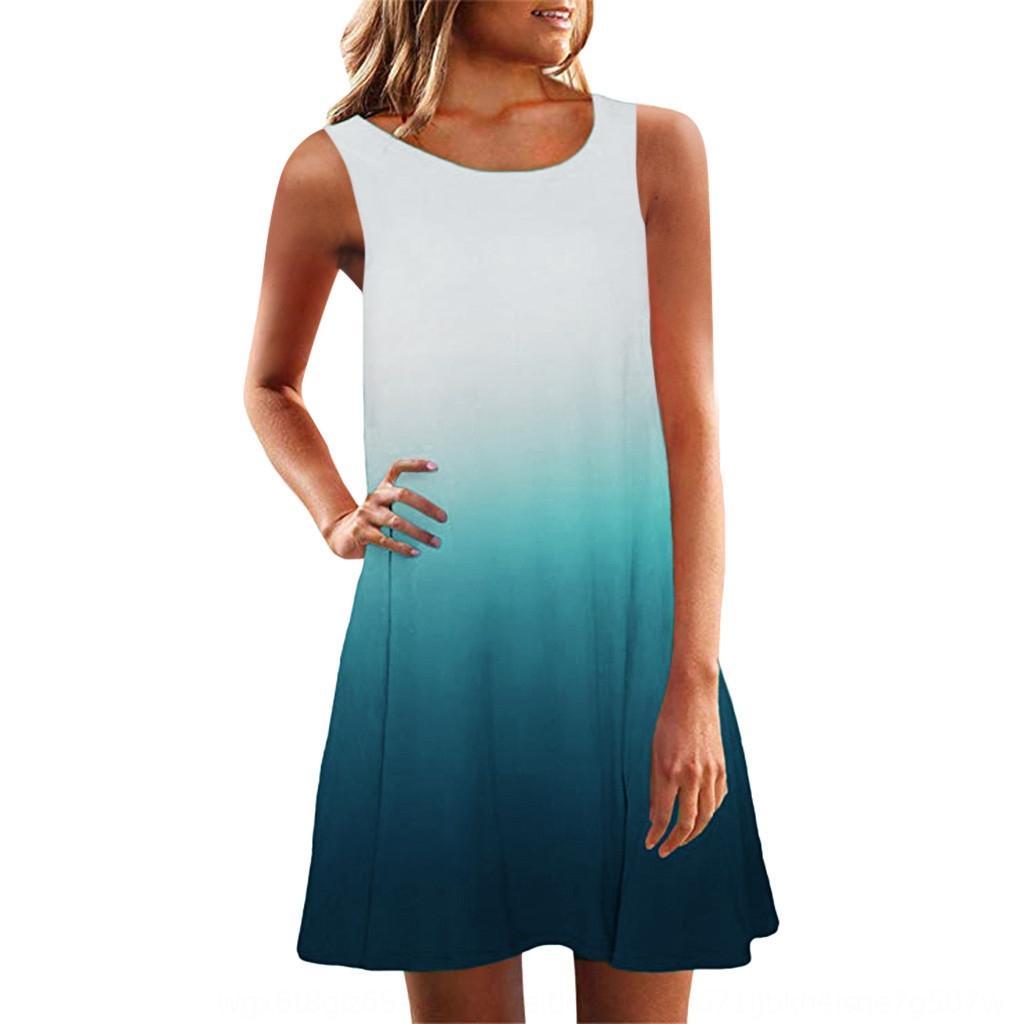 w6S9O Moda 2019 grandes ropa de mujer ocasional otoño falda falda grande grande redondo sin mangas vestido de cuello del collage origen oscilación