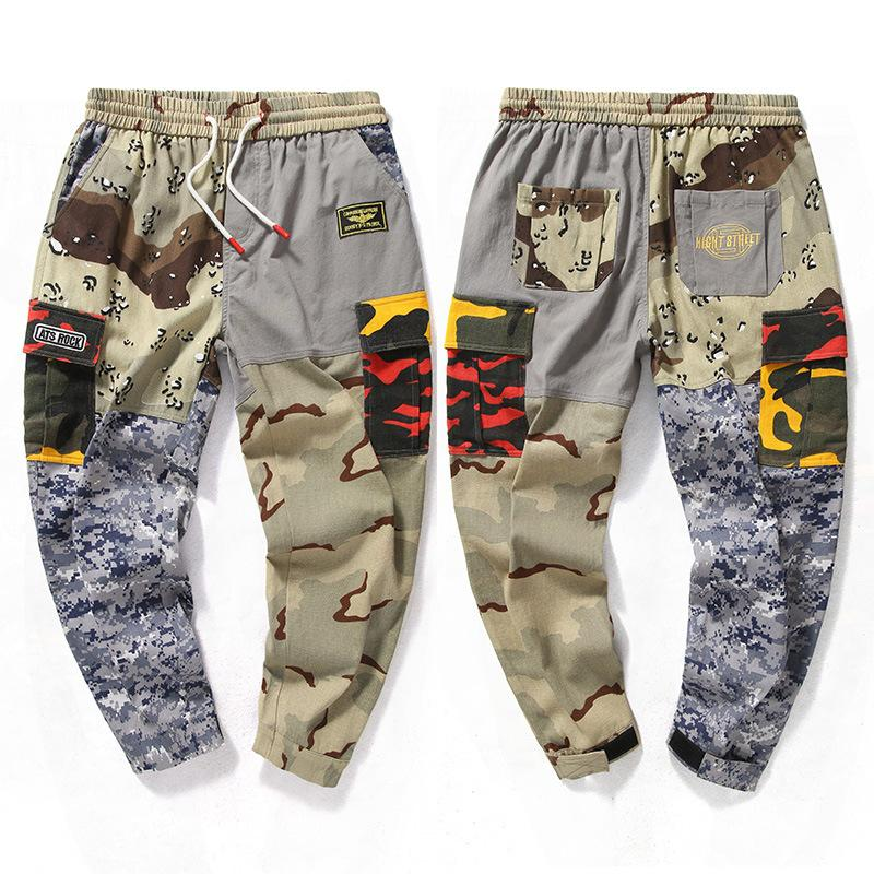 Mens longueur cheville Pantalons Pantalons Cargo Drawstring Baggy Sarouel Patchwork Slacks Hot Casual Joggers Pantalons Hip Hop