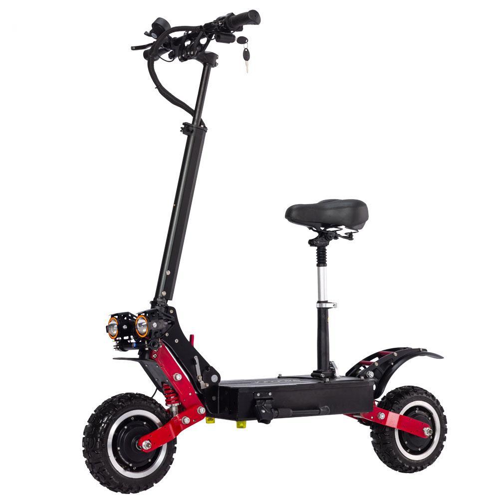 T85 5600W 전기 스쿠터 성인 85km / h 접이식 자전거 브레이크 전기 스케이트 보드 11 '오프로드 킥 스쿠터 듀얼 모터 전자 스쿠터